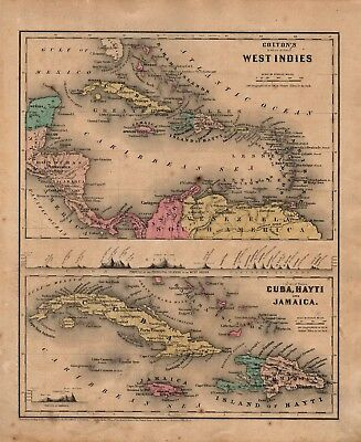 1860 Two-Sided Original J H Colton Map West Indies, Cuba, Hayti, Jamaica/SA