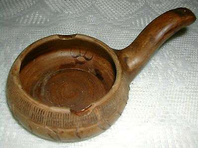 UNIQUE Vintage Ceramic PIPE SHAPED Pottery Ashtray Hand Etched ASSISI