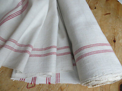 Antique Hand Woven Linen Roll Fabric Towels Toweling  Red Stripes  12.6 Yards