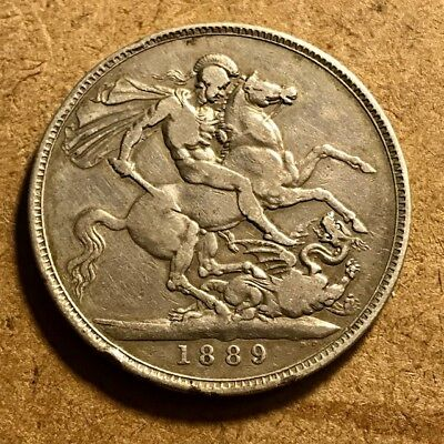 GREAT BRITAIN Queen Victoria Crown 1889 St. George & Dragon - Large Silver Coin
