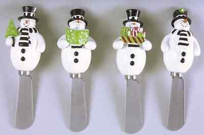 Certified International HOLIDAY SNOWMAN Set of 4 Individual Spreaders 7626584