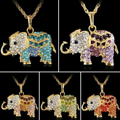 Crystal Rhinestone Animal Elephant Long Sweater Chain Pendant Necklace Jewelry