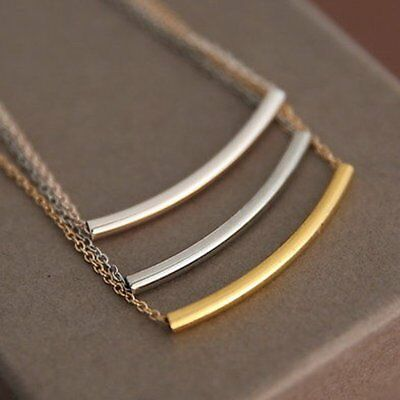 Fashion Rose Gold/Silver Thin Long Curved Tube Bar Choker Necklace Women Jewelry