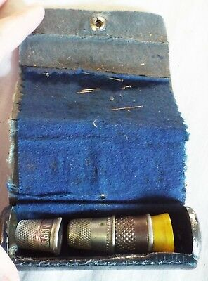 Antique ROLL UP LEATHER NEEDLE & THIMBLE CASE Sewing Case + 4 ASSORTED THIMBLES