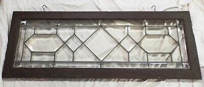 """Old Antique 44"""" x 16"""" LEADED BEVELED GLASS WINDOW Clear Glass Wooden Frame"""