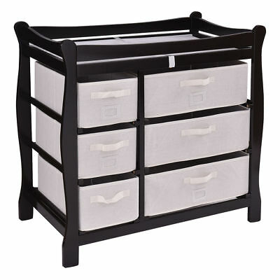 Black Baby Infant Diaper Clothes Changing Table 6 Basket Nursery Storage Drawers