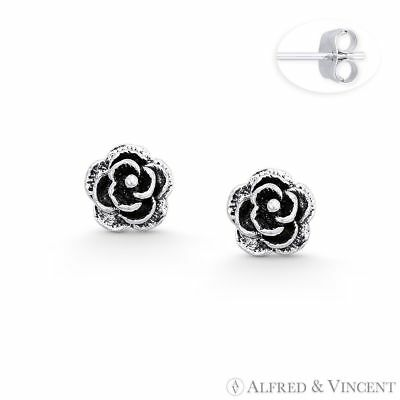 Rose Flower Charm 3D Stud Fashion Earrings in Oxidized Solid 925 Sterling Silver