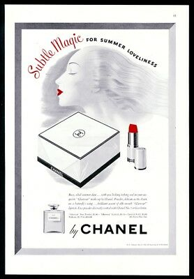 1942 Chanel No.5 perfume Glamour lipstick face powder vintage print ad