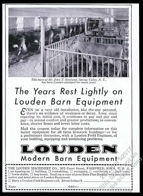 1932 Guernsey cow photo Louden barn equipment vintage print ad