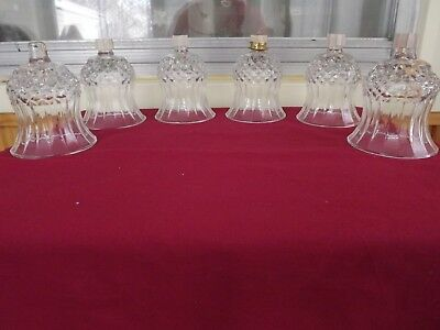 Lot of 6 Vintage Cathedral Diamond Home Interior Votive Cups