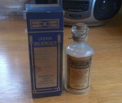 Larkin Ink Remover Rare Emb Hand Blown Bottle With Label Cork & Box 1900