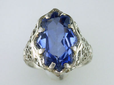 Vintage Antique 7ct Ceylon Sapphire 18K White Gold Art Deco Cocktail Ring