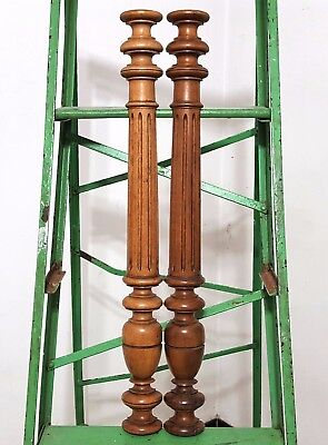 """Half Wall Column 25"""" Pair Antique French Carved Wood Salvaged Post Pillar Trim"""
