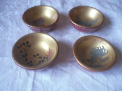4 Japanese Red and Black Lacquer Small Bowls with Gilt Interior
