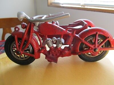 Vintage Hubley Cast Iron Toy Motorcycle with Sidecar Original Condition