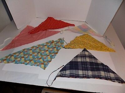 Lot of 6 Vintage Lady's Triangular Hair Kerchiefs Lot #2