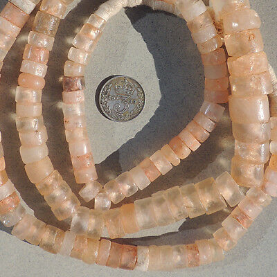 27.5 inch 70 cm strand ancient cylindrical crystal stone beads mali niger #3962