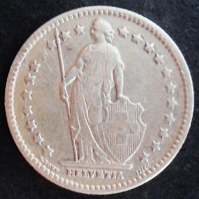 1905-B Switzerland Franc , circulated , higher grade, nice  silver coin - 0112
