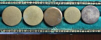 Lot of 5 Antique Gilded Brass Button Flat / Coin Shaped Assorted Backmarks  20mm