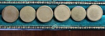 Lot of 6 Antique Gilded Brass Button Flat / Coin Shaped Assorted Backmarks  19mm