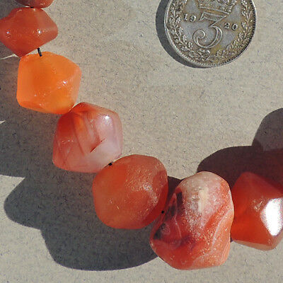 19 hand faceted ancient carnelian agate stone beads mali #3965