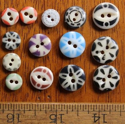 Lot of 14 Antique China Stencil Buttons Assorted Colors and Sizes