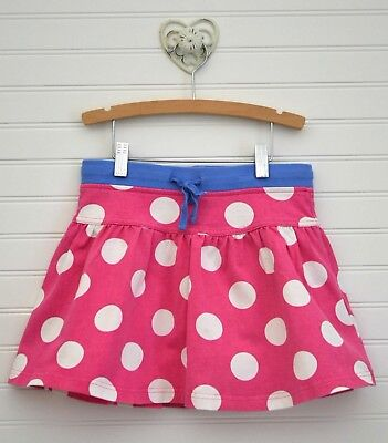 Girls MINI BODEN Sz 9 10y Pink White Big Polka Dot Cotton Skirt Skort