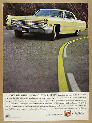 1966 Cadillac Coupe DeVille yellow car color photo vintage print Ad