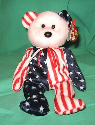 Spangle TY Beanie Baby Pink Face Patriotic America Bear MWMT DOB July 14 1999
