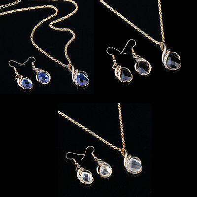 Fashion Women's  Filled Sapphire necklace earrings ring jewelry set Gift BDAU