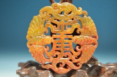 Excellent Chinese Old Jade Carved Beast Statue Pendant   ha4
