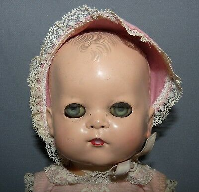 American Character Doll Tiny Tears 1950 Cries Molded Hair Eyes Open Close