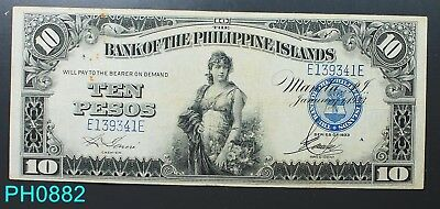 PHILIPPINES 10 Peso Bank of the Philippines 1933 Serial # E139341E CIRCULATED