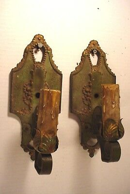 Vintage Antique Old Painted Wall Sconces Ornate  with Flowers
