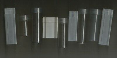 LOT of (10) ROUND AND SQUARE COIN TUBES - 1¢ 5¢ 10¢ 25¢ 50¢ SIZES