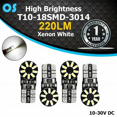 4 Pcs T10 194 W5W White LED 18 SMD Car Truck Interior Dome Map Reading Lights