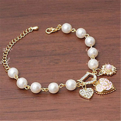 Fashion Gift Gold Plated Women's Jewelry Crystal Heart Bangle Pearl Bracelet
