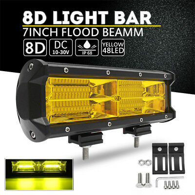 "7"" Inch 216W Yellow LED Work Light Bar Flood Driving Lamp Car Truck Boat Offroad"