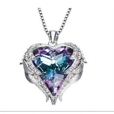 Valentine's Love Heart Rainbow Mystic Topaz 925 Sterling Silver Necklace Pendant