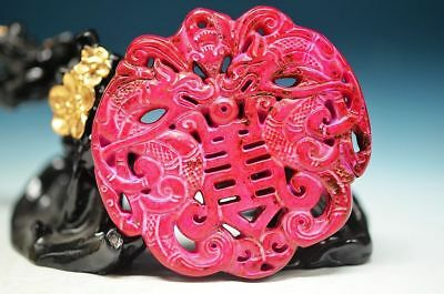 Excellent Chinese old jade Carved *dragon/Phoenix* Pendant  ha5