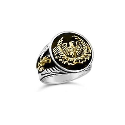Artisan made Roman Eagle Fasces Mens ring sterling silver 925