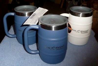 lot of 3 Eco Vessel double barrel insulated 16 oz stainless steel mugs