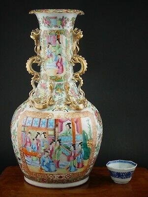 LARGE Antique 19th C Chinese Porcelain Famille Rose Gilt Dragon Mandarin Vase