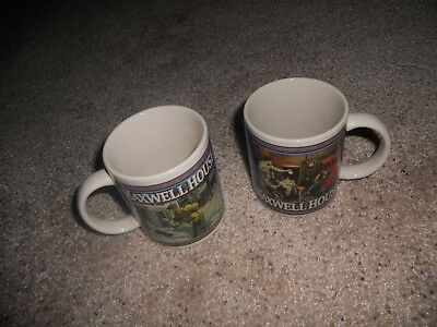 Set of 2 Maxwell House Coffee Mugs 1949 Firehouse and 1951 Snow Shoveling Scenes