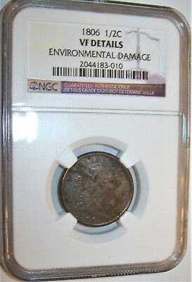 Lot of One NGC-Certified, VF, 1806 Draped Bust Half Cent