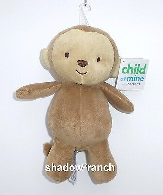 NWT Carters Child of Mine Brown Monkey Plush Stuffed Baby Rattle Toy 63221