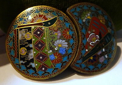 Superb Quality Japanese Cloisonne Enamel Belt Buckle Meiji Period Antique