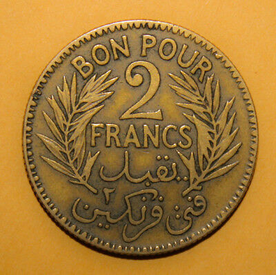 Tunisia 2 Francs AH1343 (1924) Extremely Fine Coin ***** Key Date