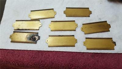 8 Vintage Brass Plated File Drawer Label Holders 2 1/4 x 7/8""