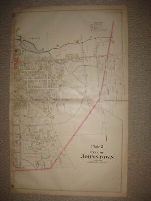 Huge Antique 1905 Johnstown Fulton County New York Handcolored Map Plate 2 Fine